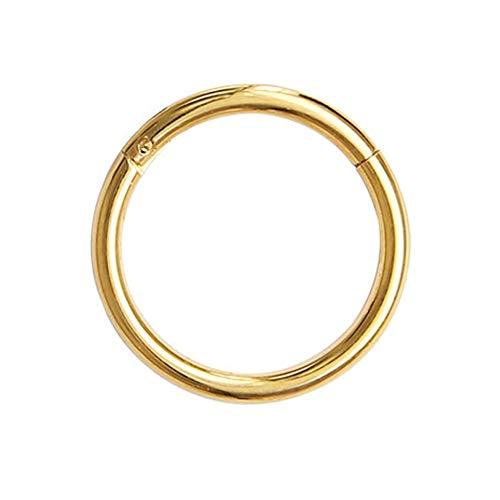 WWDD Lwmnbhd Anillo de Oro de los septos Abierto Pequeño Separador Pendiente Hombres Mujeres Que perforan la joyería del oído-Nariz Cadena del Cuerpo de Las Mujeres (Color : Gold, Size : 1.2 8mm)