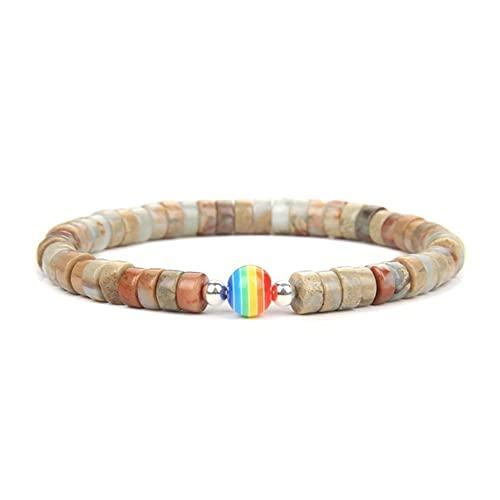 Braccialetti unisex fatti a mano con perline arcobaleno per le donne Gioielli Boho Braccialetto elastico in pietra colorata Accessori da polso Ragazze femminili (Lunghezza: 19 cm, Colore metall