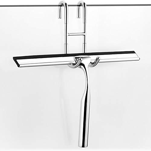 ecooe - Tergivetro per doccia in acciaio inox, allungabile, 31 cm, senza forature, con gancio da parete, 2 spazzole di ricambio in silicone per specchi, finestre, pulizia vetri