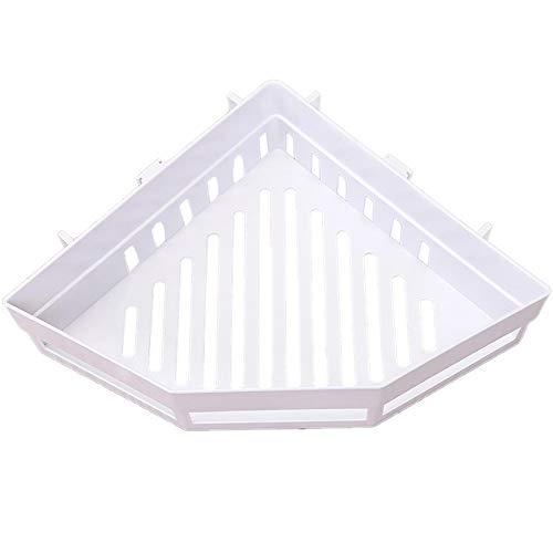 Autoadhesiva Triángulo de baño Marco Ducha Estante de la Esquina de Almacenamiento en Rack de Almacenamiento de baño de la Cesta del Estante de la Ducha (Color : White)
