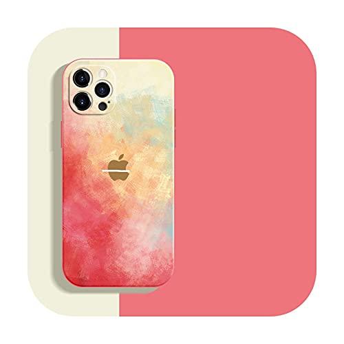 Funda de silicona líquida suave Wartercolor para iPhone 12 Mini 11 Pro Max 11Pro 12Pro Xs X Xr Soft Cover para iPhone 7 8 Plus-ChunYing-para iPhone 11ProMax