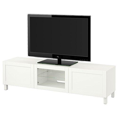 IKEA BESTA - Mueble TV con cajones y puertas de vidrio transparente blanco Hanviken