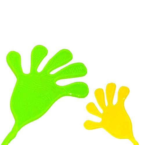 4x XXL Klatschhand Glibber in den Farben Grün/Gelb/Rot/Blau | Mitgebsel Mitbringsel Give aways Scherzartikel Spielspaß | ideal geeignet für den Kindergeburtstag als Gastgeschenk für Mädchen und Jungen