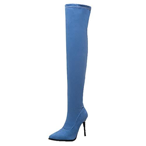Adorose Damen Jeans High Heels Overknee Stiefel Spitze Denim Stiefel Stiletto Stretch Boots Schlupfstiefel Winterschuhe(Blau,47)