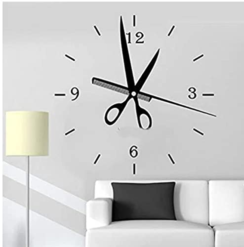 Ziruixiong Tijeras Peine Reloj Patrón Etiqueta De La Pared Peluquería Peluquería Decoración De La Ventana Desmontable Arte Mural Vinilo Peluquería Calcomanía 56X57Cm