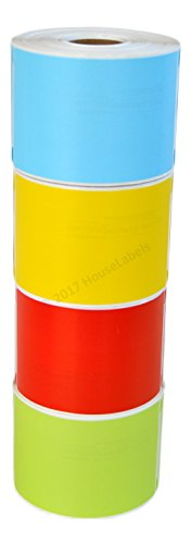 """Ships Fast 4 Rolls; 1 Roll of Each Color, 300 Labels per Roll of Compatible with DYMO 30256 RED,Yellow, Blue and Green Large Shipping Labels (2-5/16"""" x 4"""") - BPA Free!"""