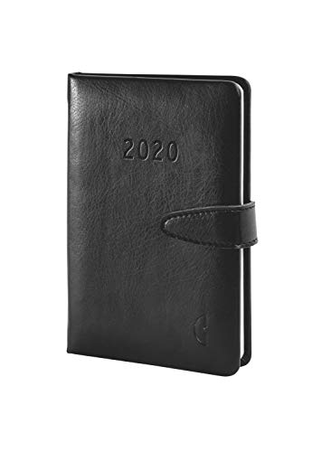 Chronoplan 50820 Buchkalender Kalendarium 2020 (ca. A6 Hardcover (95 x 145 mm) Lederimitat, Wochenplaner(1 Woche auf 2 Seiten)) schwarz