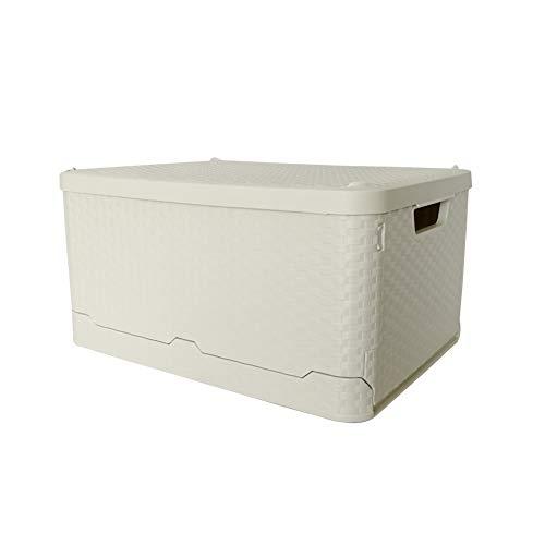 Glenmore Cajas de Almacenaje Plastico Plegables Cesta con Tapa Ratan Efecto 45 x 34 x 24 Centímetros Beige