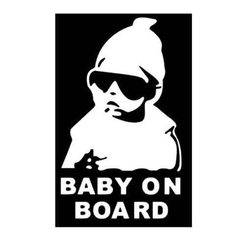 Adhesivo Baby On Board para coche - Bebé a bordo - Una noche de leones - para niño y niña - Color blanco
