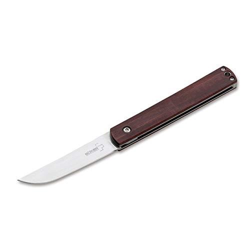 BÖKER PLUS Wasabi Cocobolo - Gentleman Taschenmesser japanischer Stil - EDC Messer mit Holzgriff - Pocket Knife mit 440C Klinge 7 cm in Geschenkbox