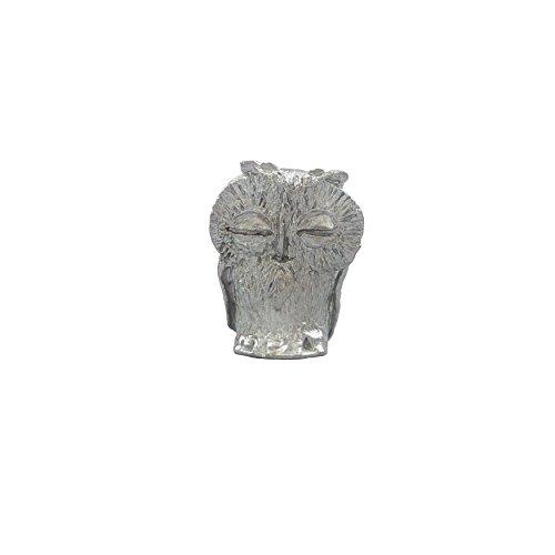 Zinngeschenke Kauz aus Zinn silberfarben, vollplastisch, Setzkastenfigur, Vitrinenfigur, Sammlerstück, Zinnfigur (HxB) 3,3 x 2,2 cm