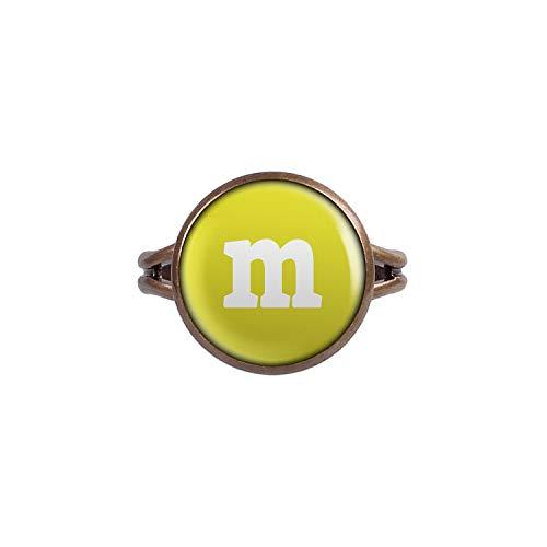 Mylery Anillo con Motivo Letra m Yellow Bronce Diferentes tamaños