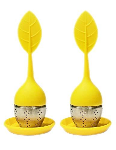 HelpCuisine infusore per tè/Filtro per tè, Infusore per Te e Tisane a Forma di Foglia di tè, Realizzato in Silicone Privo di BPA con setaccio in Acciaio Inox, Set da 2 infusori(Giallo)