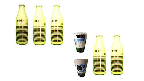 Conny Clever 5 Leere Glasflaschen 1000ml Milchflaschen Saftflaschen Flaschen + 2 Milchgläser