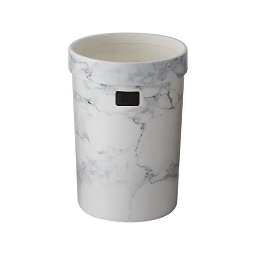 YSCSTORE HumoliStore Trash Can Schlafzimmer Trash Can Wohnzimmer Trash Can Büro marmoriert ohne Deckel Abfalleimer Can Hot Trash Modisch und langlebig (Color : White 7L)