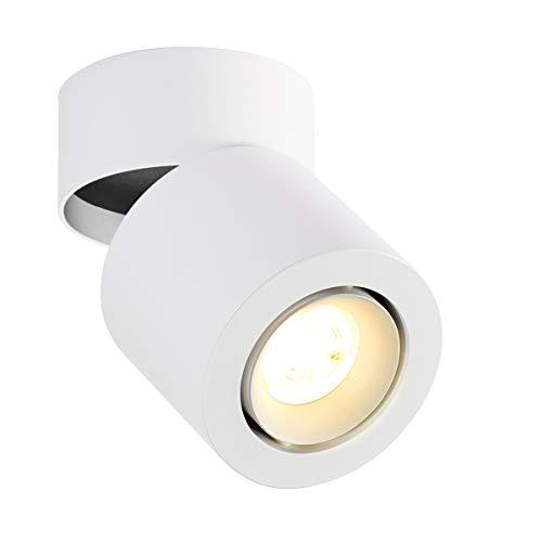 Dr.Lazy 5W GU10 LED Lámpara de techo orientable, Foco de techo, foco montado en superficie focos, plafón para el techo, blanco cálido 3000K, IP20, 10x13.5cm (Blanco-3000K)