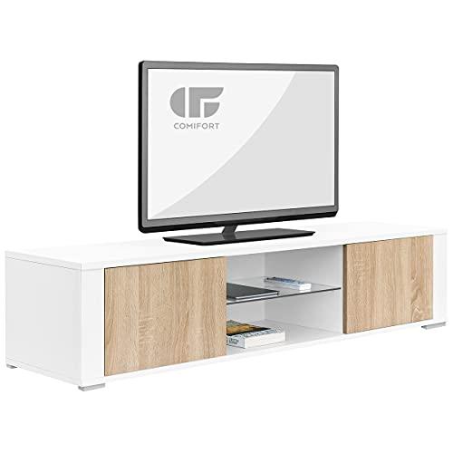 COMIFORT Mueble de TV - Mesa de Salón Moderno, Puerta con Sistema Click, Estante de Cristal Templado, Muy Resistente, Fabricado en Europa, Color Blanco y Roble