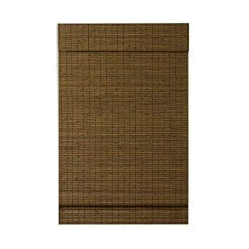 RADIANCE, Cordless Window Shades for a Standard Size Window Width, Maple, Cape Cod Flatweave Bamboo Roman Shade with Valance, 23 Inch Width x 64 Inch Length