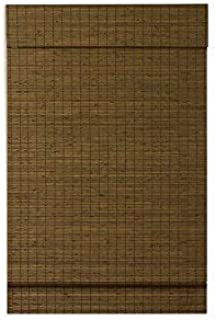 RADIANCE, Cordless Window Shades for a Standard Size Window Width, Maple Cape Cod Flatweave Bamboo Roman Shade with Valance, 23 Inch Width x 64 Inch Length