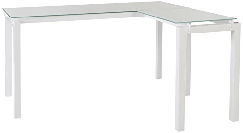 Ashley Furniture Signature Design - Baraga L-Shaped Home Office Desk - Contemporary - White Metal - Tempered Glass Tabletop
