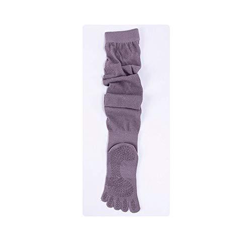 Wdonddonyjw Calcetines de Yoga No Vinculante cordón de bambú Rodilla-hi Calcetines con Fisuras Cubierta del resbalón de Las Mujeres Suaves de ventilación Calcetines. (Color : White)