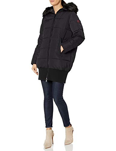 Armani Exchange AX Damen Down Alternative Puffy Coat with Fur Collar Daunenalternative, Mantel, schwarz, Small