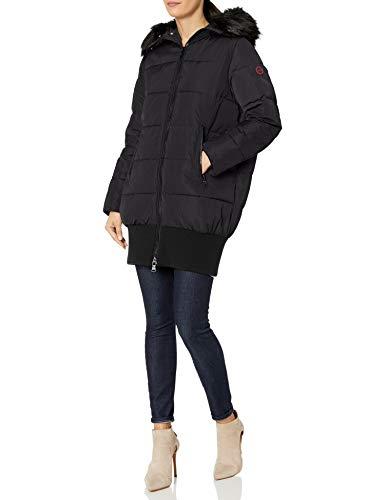 Armani Exchange AX Damen Down Alternative Puffy Coat with Fur Collar Daunenalternative, Mantel, schwarz, Large