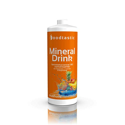 Foodtastic Mineral Drink Multifrucht, 1000ml Flasche, zuckerarm Vital Getränke Sirup Konzentrat 1:80 zum Mischen in Wasser