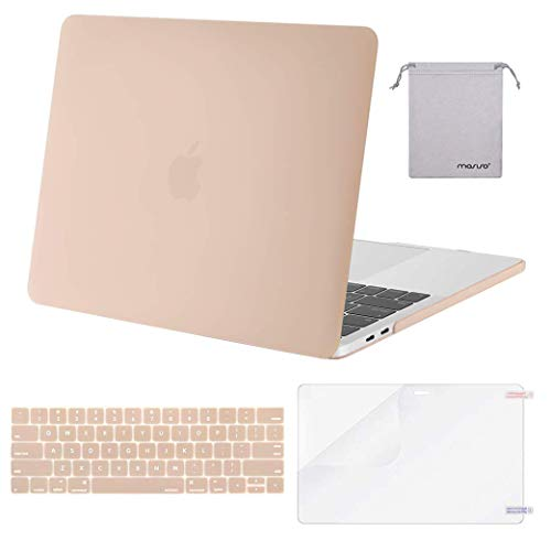 MOSISO MacBook Pro 13 inch Case 2019 2018 2017 2016 Release A2159 A1989 A1706 A1708, Plastic Hard Case&Keyboard Cover&Screen Protector&Storage Bag Compatible with MacBook Pro 13 inch, Camel