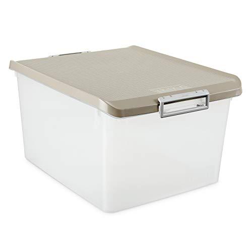 Tatay 1150023 Caja de Almacenamiento Multiusos 35 l de Capacidad plástico Polipropileno Libre de bpa Transparente con Tapa, Marron Taupé, 37,7 x 47,5 x 26 cm