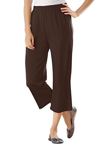 Woman Within Women's Plus Size 7-Day Knit Capri - 1X, Chocolate