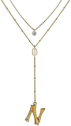 Yiffshunl Collar Collar de Mujer Collar de Cadena Larga con Cuentas de Letras de Moda & Colgante de Perlas Collar de Cristal Redondo de Doble Capa para Mujer Regalo de cumpleaños Joyería