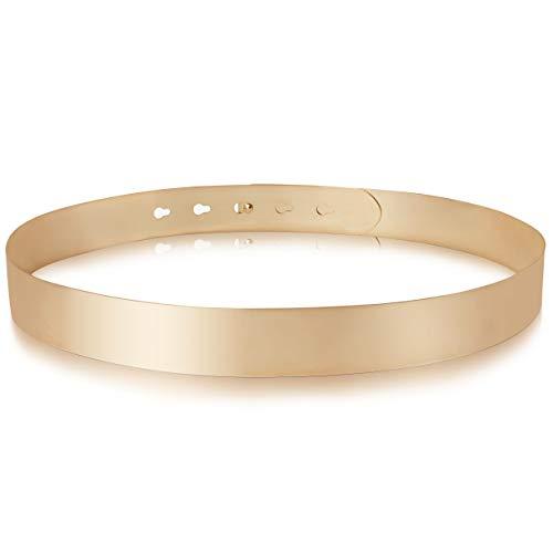 BABEYOND Taillengürtel Damen Metallic dekorativ Gürtel schmal Gürtel Taille modisch gold Metallgürtel für Kleider L Style-10-gold