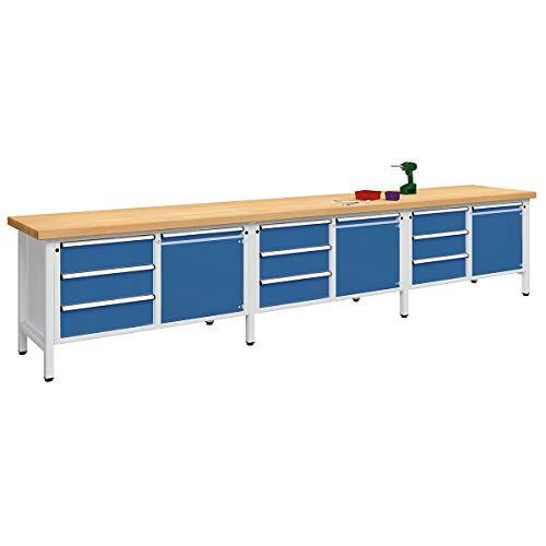 ANKE Werkbank, extrabreit - 3 Türen, 9 Schubladen mit Vollauszug - Buchemassivplatte - Arbeitstisch Montagetisch Werkbank Werktisch Arbeitsplatz Arbeitsplatzsystem