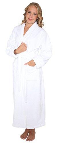 Arus - Albornoz para mujer, estilo óptimo, largo completo, grueso, estilo turco - Blanco - Petite/S