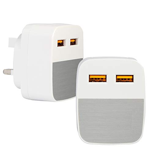 2.1 Amp* IC Tested USB Plug Charger Compatible with iOS 5 5S SE 6 6S PLUS Pro/Air 2/Mini 4, Samsung Dual Port USB Charger, Huawei Wall Charger, Tablet Kindle & Various Phones' Charger (Silver)
