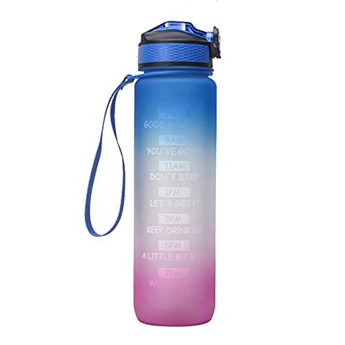 FPEH Taza de Espacio Botella de Agua de Aptitud al Aire Libre Botella de Rebote de la Cubierta del gradiente BPA Libre y a Prueba de Fugas Tritian Frosted Frostable Portá Blue-Purple