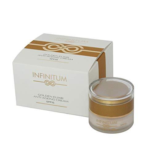 INFINITUM - Crema cara antienvejecimiento Golden Elixir - aporta suavidad a la piel, repara, protege e hidrata en seco - tipos de piel: piel dañada (30 ml)