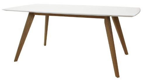 tenzo BESS Table de salle à manger rectangulaire, Plateau en Panneaux MDF ép. 25 mm laqués. Piètement : chêne Massif huilé, Blanc, 75 x 185 x 95 cm (HxLxP)
