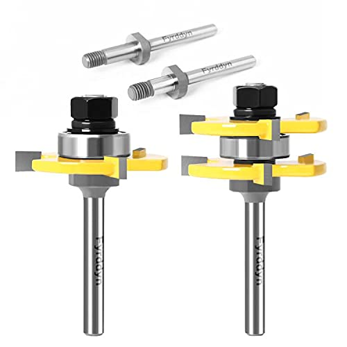 Fyrddyn 2 Max 51% OFF Pieces Adjustable Tongue and Groove Router Set wit Max 64% OFF Bit