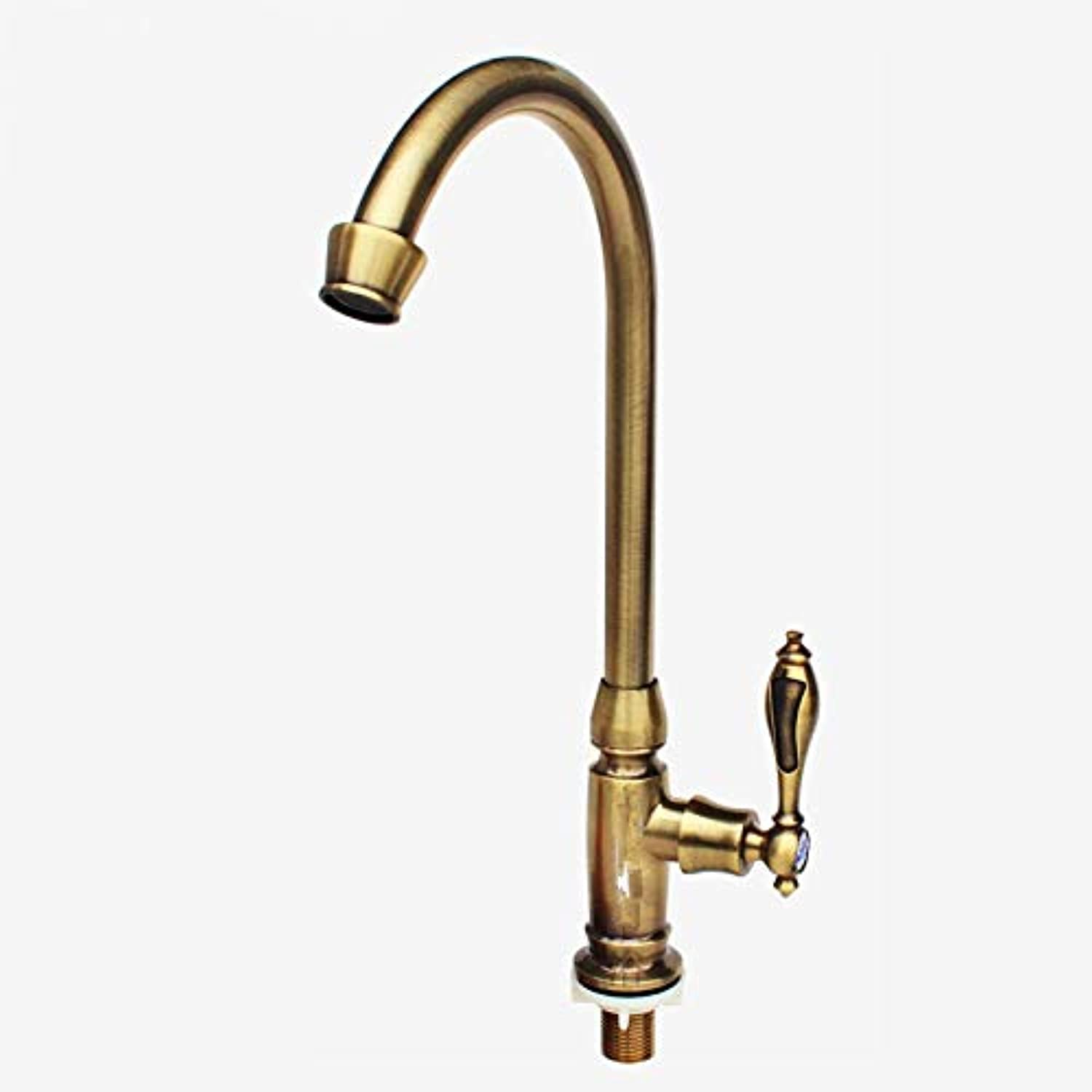Zhcmy?Faucet Full Copper Valve Core greenical Single Cold Sink Faucet Brushed 360 redating European Antique Kitchen Faucet