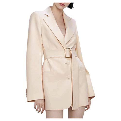 Huacat Damenanzug Jacke Herbst langärmelige warme Anzug Windjacke einfarbig V-Ausschnitt Strickjacke Knopfanzug Mantel