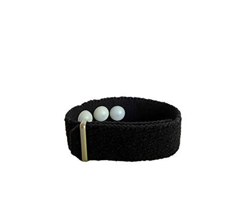 Acupressure Bracelet, Menopause Relief, Menstrual Cramps, Aromatherapy, Emotional Instability, Fatigue (Single Band) Black, Jasmine (Medium 7 in)