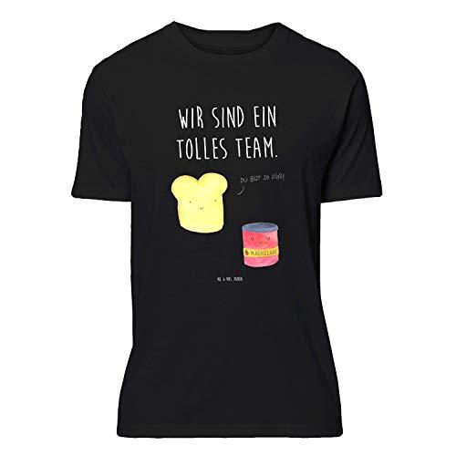 Mr. & Mrs. Panda , Größe S T-Shirt Toast & Marmelade mit Spruch - Farbe Schwarz