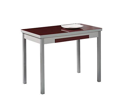 ASTIMESA Mesa de Cocina con Alas Burdeos 100x60 cms
