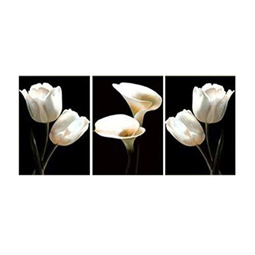 KKJJ Moderno Cuadros de Pintura Mural Tulipán Blanco Lirio de Cala 3 Partes Pintura Decorativa Flor   Lienzo Giclée Obra de Arte para Dormitorio, Sala de Estar - sin Marco,SizeA