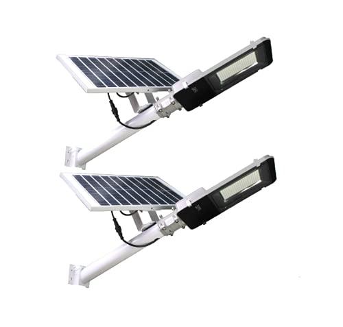 (Pack x2) Farolas Solares 200W para Exterior, 2500 Lúmenes, Impermeable IP65, Panel Solar Orientable y Mando a distancia.