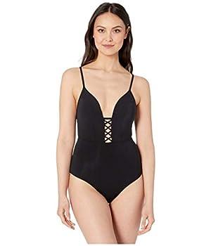 Jets by Jessika Allen Women s Jetset Plunge One Piece Swimsuit Black US 4 / AUS 8