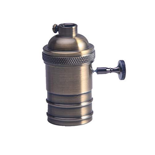 Faderr Soporte para bombilla retro E26/E27, cobre antiguo, latón Edison, casquillo retro Edison, portalámparas con interruptor de perilla, juego de montaje para bombilla colgante de pared, Scone DIY
