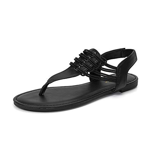 LUFFYMOMO Womens Flat Sandal Elastic Strappy Thong Sandals(8 M US Black)